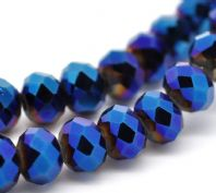 30 Dark Blue AB Color Crystal Glass Faceted Rondelle Beads 8mm